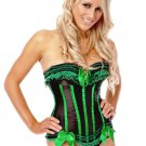 Green Boned Lace Up Corset with G-string