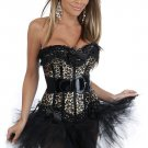 Zebra Boned Lace Up Corset with G-string & Skirt