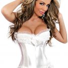 White Boned Lace Up Corset with G-string