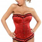 Red Boned Lace Up Corset with G-string