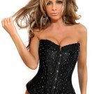 Black Rhinestones Boned Lace Up Corset