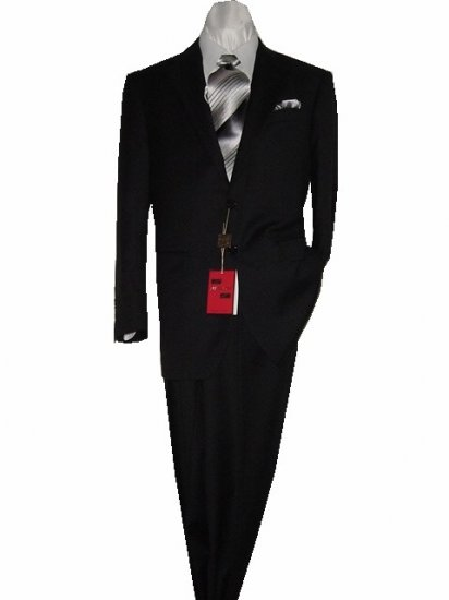 42S Mantoni 2-pc Men's Suit Solid Black Wool 2 Button Flat Front Pants Free Hem-up & Tie Size 42S