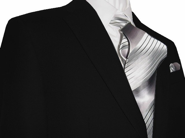 48L Mantoni 2-pc Men's Suit Solid Black Wool 2 Button Flat Front Pants Free Hem-up & Tie Size 48L