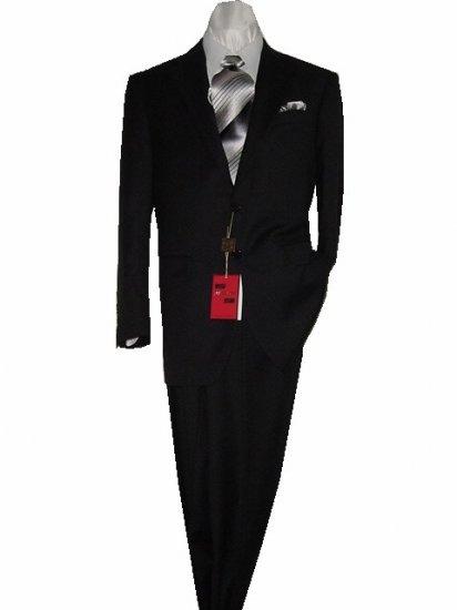 44L Mantoni 2-PC Men's Suit Solid Black Wool 2 Button Flat Front Pants Free Hem-up & Tie Size 44L