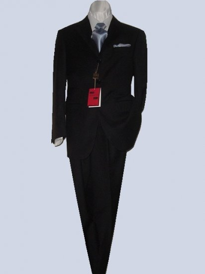 48L Mantoni 2-pc Men's Suit Solid Black Wool 3 Button Single Pleated Pants FREE Tie Size 46L