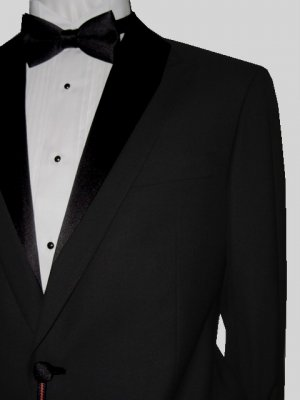 50L Marchatti 2-PC Men's TUXEDO Suit 1 Button Solid Black Flat Front Pants FREE Bow Tie Size 50L