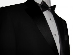 40S Marchatti 2-PC Men's TUXEDO Suit 2 Button Solid Black Flat Front Pants FREE Bow Tie Size 40S