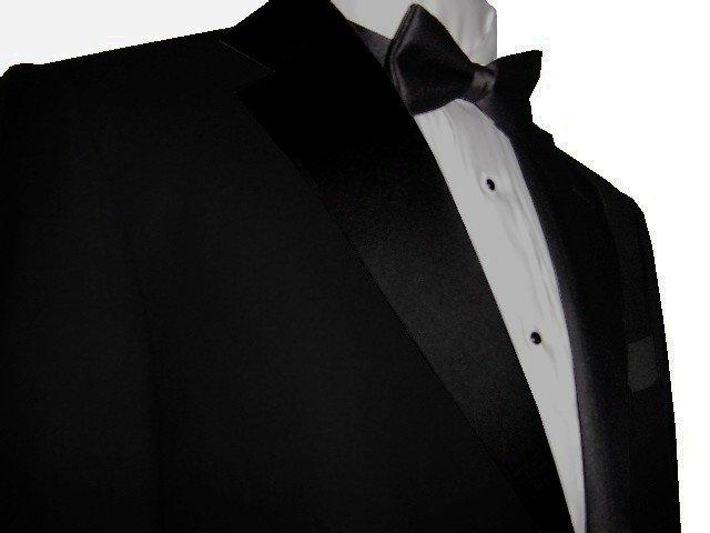 44L Marchatti 2-PC Men's TUXEDO Suit 2 Button Solid Black Flat Front Pants FREE Bow Tie Size 44L