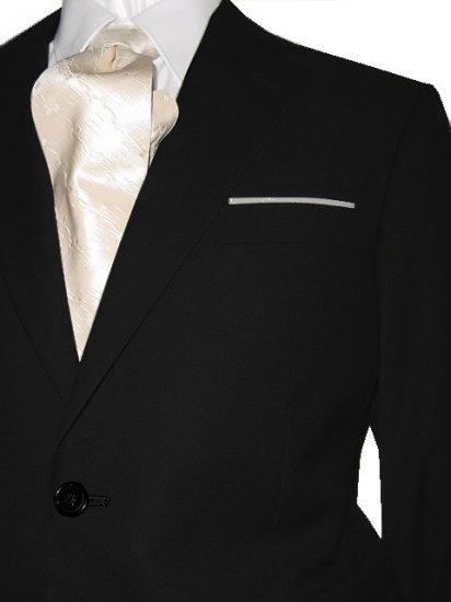 46L Marchatti 2-PC Men's Suit 2 Button Solid Black Flat Front Pants FREE Neck Tie Size 46L