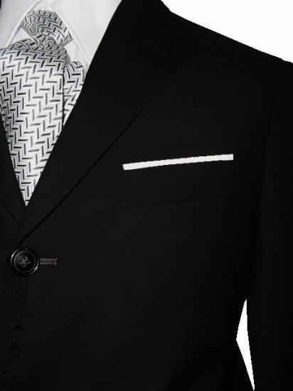 42R Marchatti 2-PC Men's Suit 3 Button Solid Black Single Pleat Pants FREE Neck Tie Size 42R