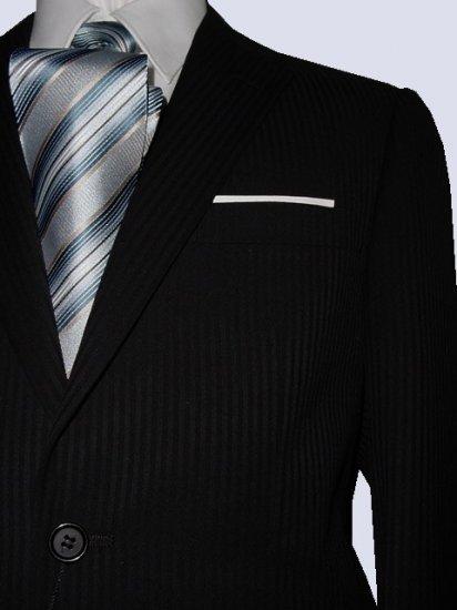 44L Fiorelli 2-Button Men's Suit Black with Thin Stripes with Flat Front Pants FREE Tie Size 44L