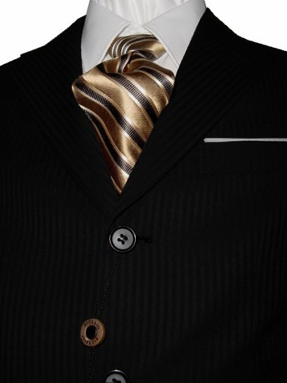 44S Fiorelli 3-Button Men's Suit Black with Thin Stripes with Single Pleated Pants FREE Tie Size 44S