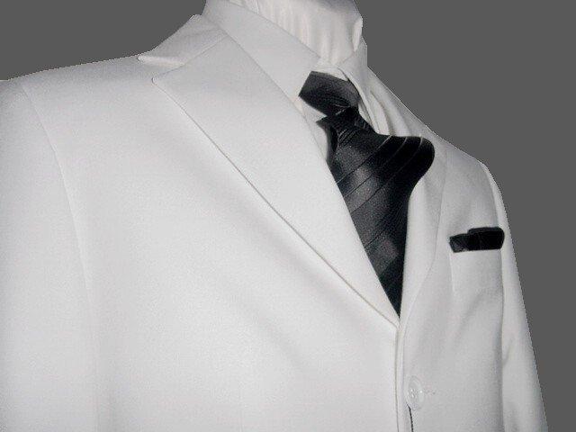 44L Fiorelli 3-Button Men's Suit Solid White Single Pleated Pants FREE Tie Size 44L