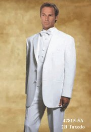 44L Giorgio Fiorelli 2-Button White Men's Tuxedo Suit Single Pleat Pants FREE White Bow Tie Size 44L