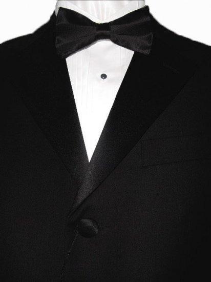 44R Giorgio Fiorelli 3-Button Black Men's Tuxedo Suit Single Pleat Pants FREE Black Bow Tie Size 44R