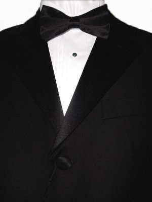 38R Giorgio Fiorelli 3-Button Black Men's Tuxedo Suit Single Pleat Pants FREE Black Bow Tie Size 38R