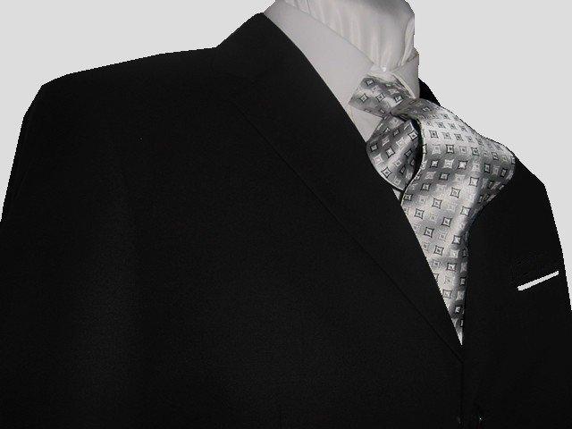 44R Fiorelli 3-Button Men's Suit Solid Black Single Pleated Pants FREE Tie Size 44R