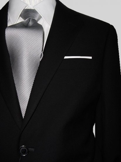 46L Giorgio Fiorelli 2-Button Men's Suit Solid Black Flat Front Pants FREE Tie Size 46L