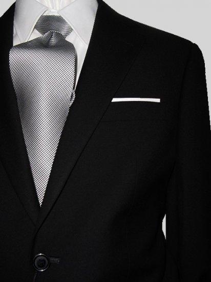 44L Giorgio Fiorelli 2-Button Men's Suit Solid Black Flat Front Pants FREE Tie Size 44L