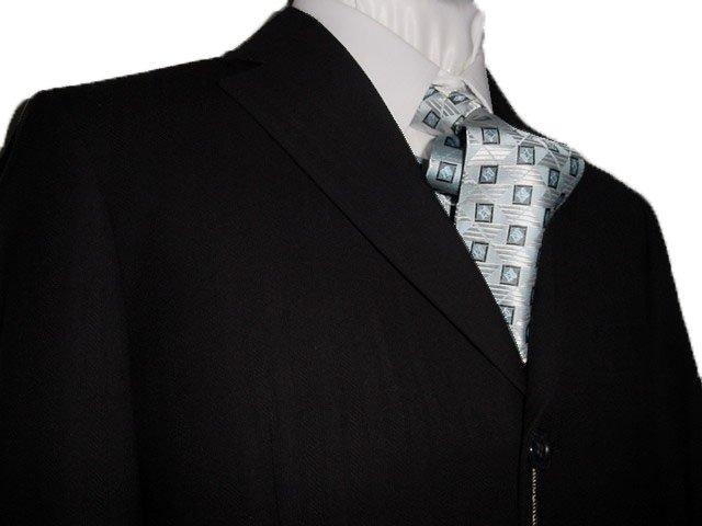 46R Vitarelli 3-Button Men's Suit Textured Black Single Pleated Pants FREE Neck Tie Size 46R