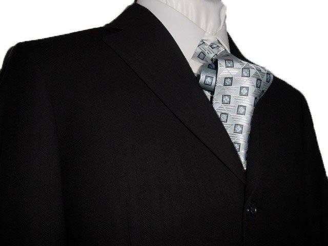 44L Vitarelli 3-Button Men's Suit Textured Black Single Pleated Pants FREE Neck Tie Size 44L