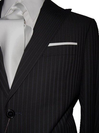 42L Vitarelli 2-Button Men's Suit Black with Single Stripe FREE Neck Tie Size 42L