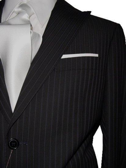 48L Vitarelli 2-Button Men's Suit Black with Single Stripe FREE Neck Tie Size 48L