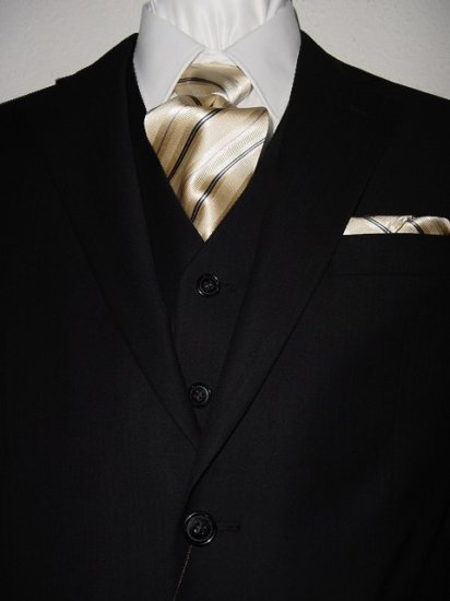 48L Vitarelli 3-PC Men's Suit Black Stripes with Matching Vest FREE Neck Tie Size 48L