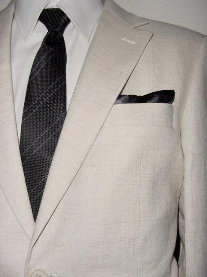 46R Mantoni 2-PC Men's Suit Natural Beige Linen 2 Button Flat Front Pants FREE Neck Tie Size 46R