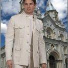 46R Mantoni 2-PC Men's Suit Natural Beige Linen 5 Button Monoco Style Single Pleat Pants Size 46R