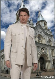 50L Mantoni 2-PC Men's Suit Natural Beige Linen 5 Button Monoco Style Single Pleat Pants Size 50L