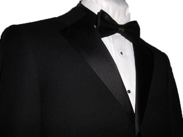 44L Mantoni 2-pc Men's Tuxedo Black 100% Wool 3 Button No Pleat Pants FREE Bow Tie Size 44L
