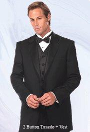 46L Mantoni 3-pc Men's Tuxedo with Vest Black Wool 2 Button FREE Bow Tie Size 46L