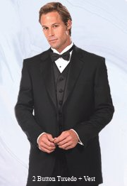 44L Mantoni 3-pc Men's Tuxedo with Vest Black Wool 2 Button FREE Bow Tie Size 44L