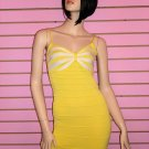 SEXY YELLOW AND WHITE  BANDAGE DRESS SIZE M
