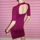 HOT MAGENTA ZIPPER FRONT BANDAGE DRESS Size M 6 - 8