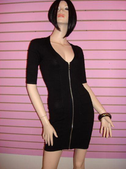 SEXY BLACK ZIPPER FRONT BANDAGE DRESS SIZE S 2 - 4