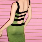 SEXY GREEN AND BLACK BANDAGE DRESS SIZE L 10-12