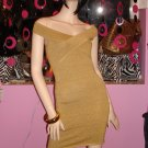 SO SEXY GOLD SHIMMERY BANDAGE DRESS SIZE MEDIUM FITS 6 - 8