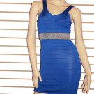 SO FABULOUS BLUE WITH SILVER TRIM WAIST  BANDAGE DRESS SIZE LARGE 10-12
