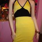 HOT YELLOW AND BLACK  HALTER BANDAGE DRESS SIZE M 6 - 8