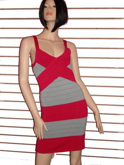 HOT PINK AND GREY PARTY BANDAGE DRESS SIZE L 10-12