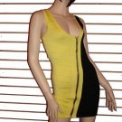SASSY YELLOW AND BLACK CLUBBING BANDAGE DRESS  SIZE MED 6 - 8