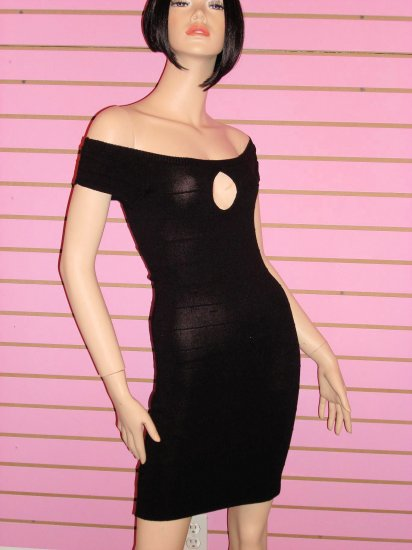 SEXY BLACK OFF THE SHOULDER  BANDAGE MINI DRESS SIZE SMALL 2- 4