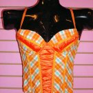 CUTE ORANGE PLAID CORSET SIZE SMALL 2 - 4
