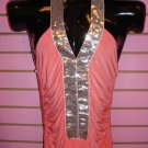 HOT CORAL AND SILVER SEQUIN TRIM TOP SIZE MED 6 - 8