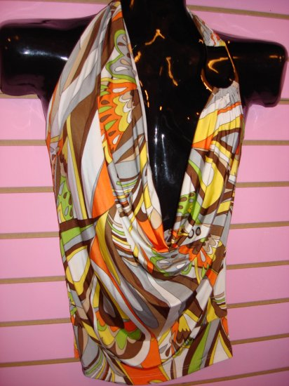 SEXY BROWN MULTI DRAPE FRONT TOP SIZE SMALL 2 - 4