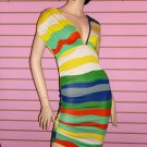 SEXY BLUE MULTI STRIPE DRESS SIZE MED 6 - 8