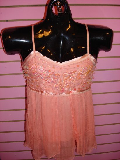 CORAL CHIFFON BEADED TOP SIZE MED 6 - 8
