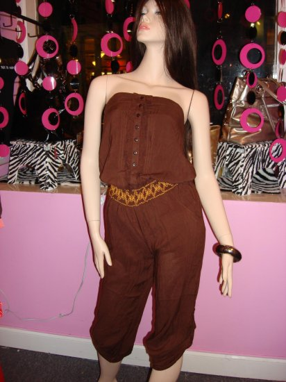 JAZZY BROWN COTTON JUMPSUIT SIZE   LARGE 10-12